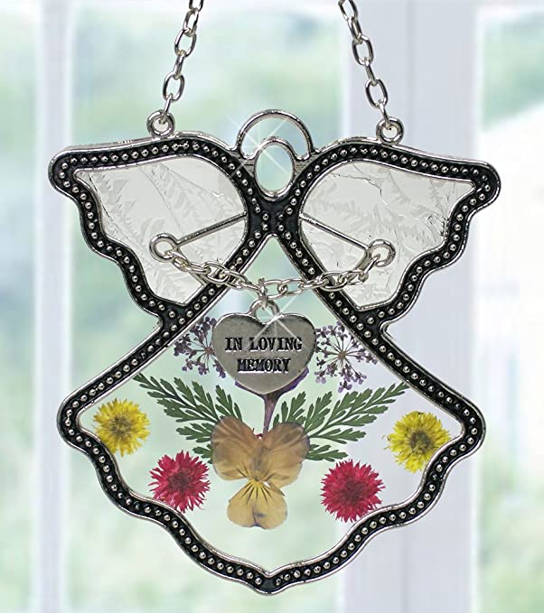 Memorial Gifts - Angel Suncatcher with in Loving Memory Charm - Pressed Flowers Stained Glass Angel with Memorial Heart Charm - in Memory of Loved Ones