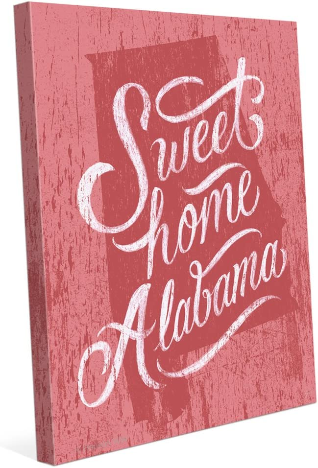 Distressed Wood Textured Red Sweet Home Alabama State Canvas Art Print Wall Décor 8x10