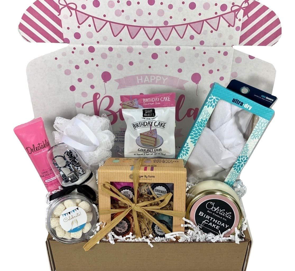 Spa Bath Bomb Birthday Theme Gift Basket Box Her-Women, Mom, Aunt, Sister or Friend Hey