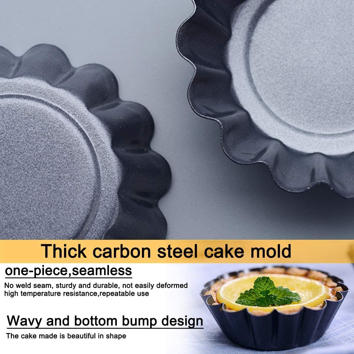 BESTZY Egg Tart Molds,Muffin Cake Mold Carbon Steel,Cheese Cakes Desserts 2.55x1.77x1.26in Quiche pan and More 8 PCS Cupcake Cake Muffin Mold Tin Pan Baking Tool