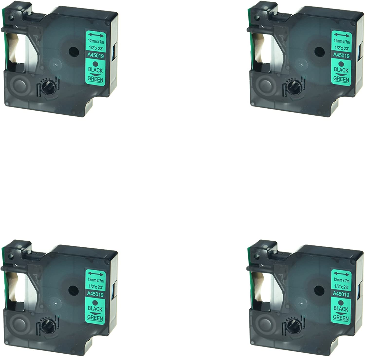 4PK For Dymo D1 45019 LabelManager 155 160 200 Printer Black on Green Label Tape