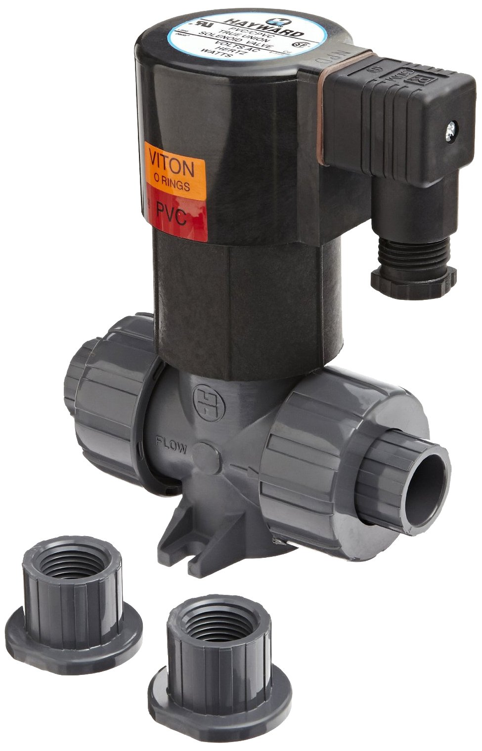 Hayward SV10100STE SV Series PVC Solenoid Valve, Normally Close (NC), Non-Pressure Differential, EPDM Seals, 1'' Socket and Threaded Connections, 110V