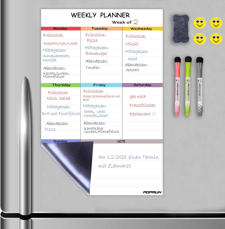 einzigartiges Layout und sch/önes buntes Design A4 Bunt FBA Einkaufsliste und Abschnitt f/ür Mahlzeiten Wochenplaner mit To-Do-Liste