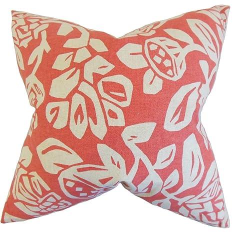 La Almohada Collection Izzy Foral cojín (Coral, Color Rosa ...