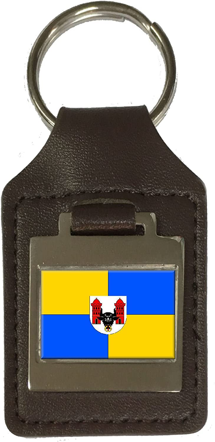 Leather Keyring Engraved Prerov City Czech Republic Flag
