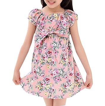 Niñas Vestidos Princesa Vintage De Flores Manga Corta Cuello Redondo Boda Fiesta Cumpleaños Cóctel Pink 110CM