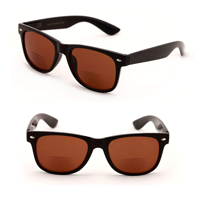 18ea2700c08d Amazon.com: Classic Bifocal Outdoor Reading Sunglasses - Comfortable  Stylish Simple Readers Rx Magnification (2 Black Lens, 1.00): Clothing
