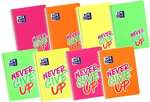 Oxford Never Give Up - Pack de 5 cuadernos, 4 x 4 cm, color neón ...