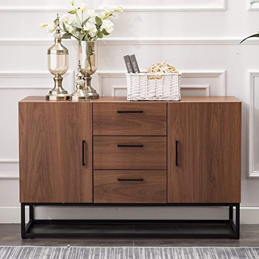 Amazon Com Canmov Modern Sideboard Storage Cabinet Buffet Table Kitchen Storage With Three Storage Drawers Two Cabinets Brown Buffets Sideboards