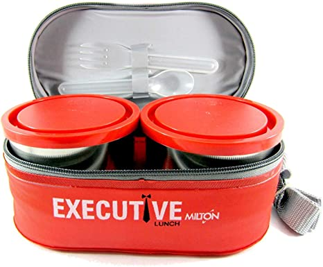 STYLOFOREVER Milton Executive Lunch Box with 3 Containers, Orange Lunch Boxes
