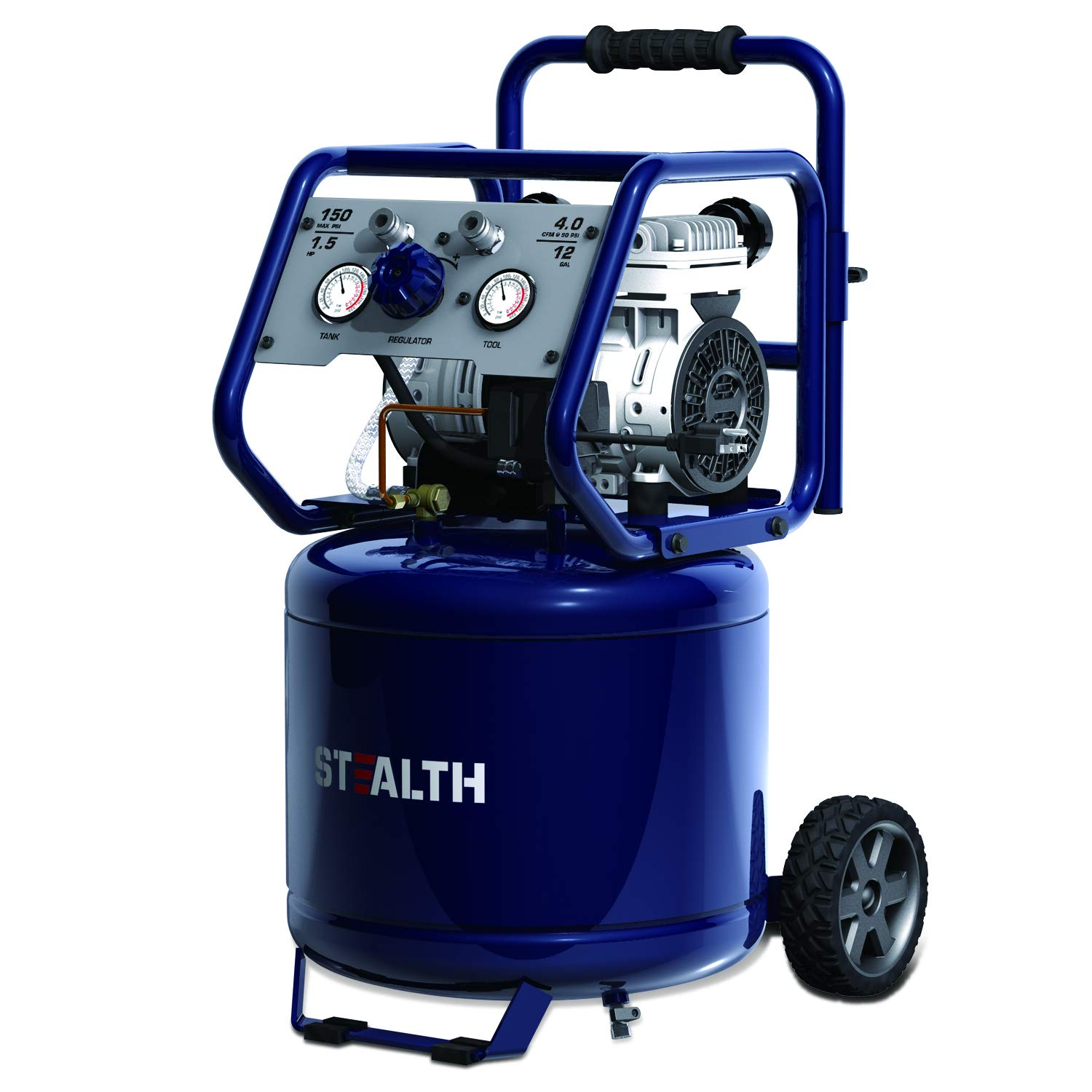 STEALTH Ultra Quiet Air Compressor, Oil-Free 1.5 HP 12 Gallon, 150 PSI, Long Lifecycle >1000H, Noise Less than 70 Decibels, Model: SAQ-11215