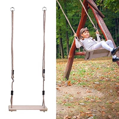 Kids Swings, Fun Outdoor Wooden Swing for Kids Up to 330 Lb Child Wood Play Set Swing: Toys & Games