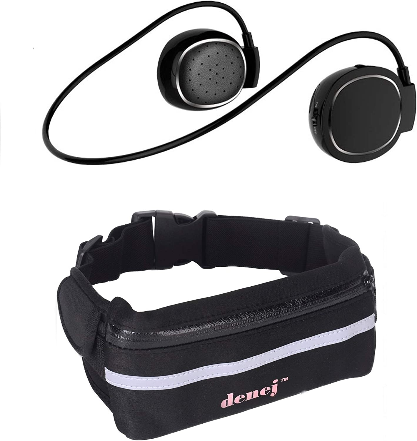 Fanny Pack Phone Holder with Mini On Ear Bluetooth Headphones Set -Swipe Pad Behind the Head Wireless Hands free Headset and Waist Pack Gift Pack Pink