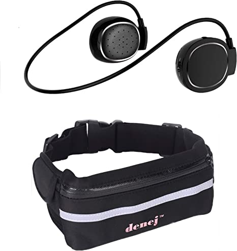 Bolsa de running Fanny Pack con auriculares Bluetooth - Auriculares deportivos inalámbricos con riñonera 20HR Playtime - Auriculares Bluetooth con bolsa para guardar iPhone 6, 6S, 7, Samsung Galaxy, Android, NA, Rojo: