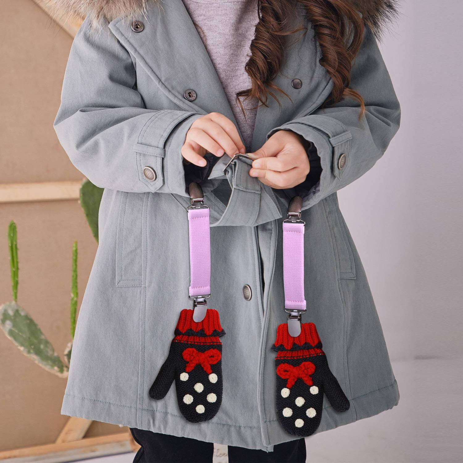 Wisdompro Glove Clips Toddle and Adults 4 Pieces Mitten Clips with Elastic Straps for Kids