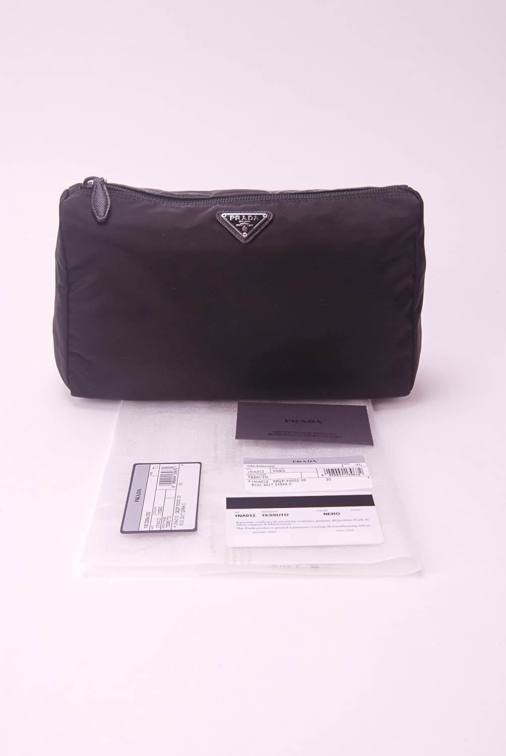 a3dec2e9fedc Amazon.com   Prada Large Unisex Toiletry and Cosmetics Travel Zippered Pouch  Case Bag in Tessuto Nylon and Saffiano Leather   Beauty