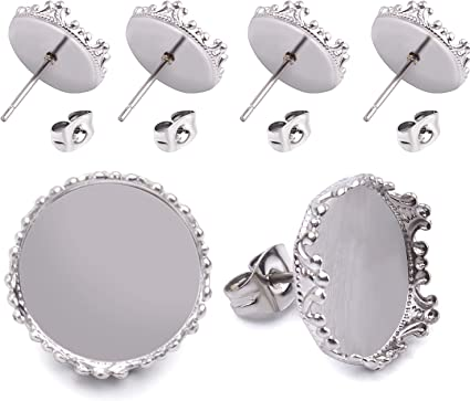 40 Pcs Stainless Steel Stud Earring Cabochon Setting Post Cup Fit for 12mm,80 Pcs Earring Backs fit for 12mm