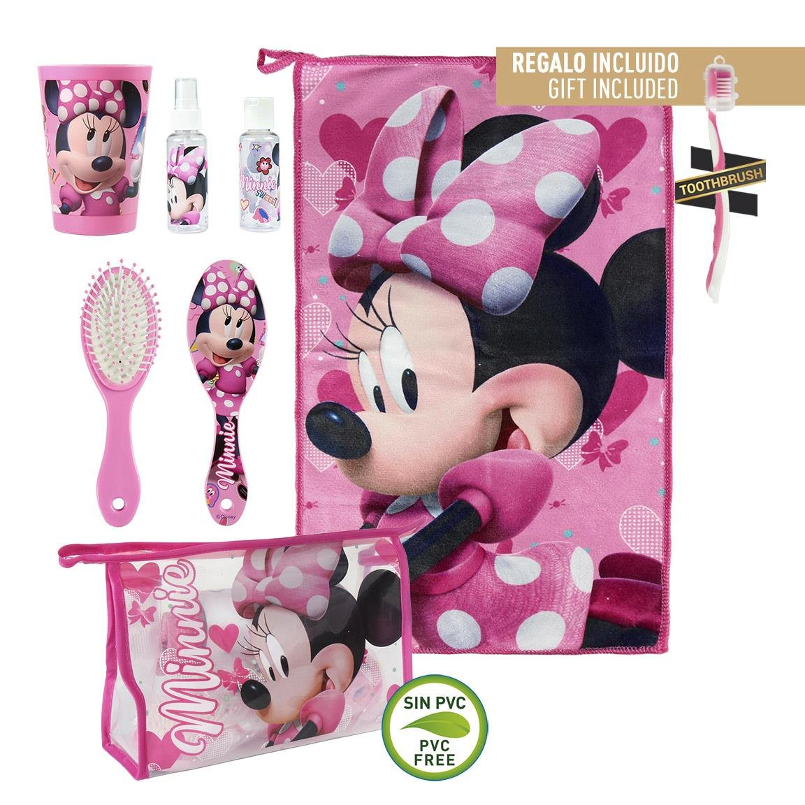 Divertido neceser de Minnie con un set de higiene incluído.