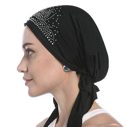 af7b74af1a7 Amazon.com  Crystal Chemo Hat Woman s Stretchy Beanie Bandana Turban ...