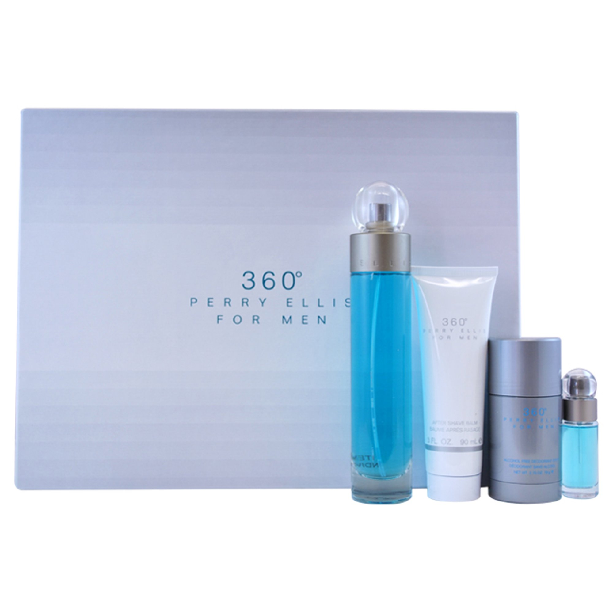 Perry Ellis 360 for Men | Gift Set with 3.4 oz Eau de Toilette Spray, 3 oz After Shave Balm, 2.75 oz Deodorant Stick, and 0.25 fl oz Mini EDT Spray | Scent Notes of Exotic Wood and Citrus