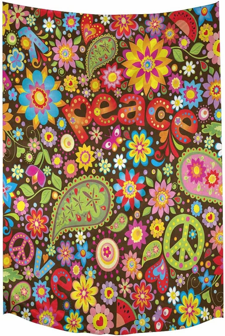 INTERESTPRINT Funny Hippie Peace Sign Paisley Flowers Tapestries Home Decor, Cotton Linen Tapestry Wall Hanging Decorative Tapestry, 60W X 90L Inch