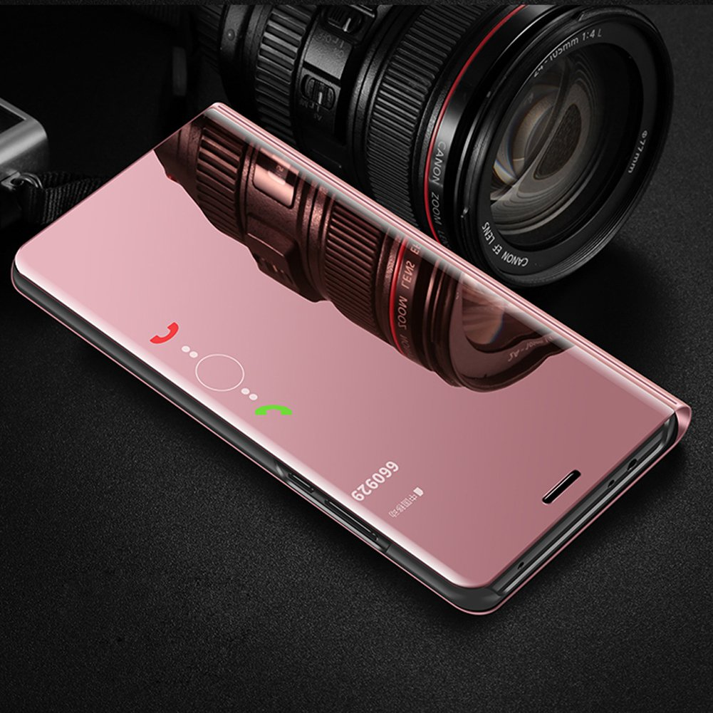 Huawei P10 Lite Case,Huawei P10 Lite Cover,ikasus Ultra-Slim Luxury Plating Mirror Makeup Case Cover PU Leather Flip Stand Kickstand Protective Case Cover for Huawei P10 Lite,Rose Gold by ikasus (Image #2)