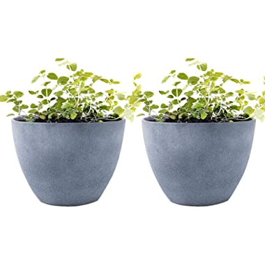 Flower Pot Garden Planters 12  Pack 2 Outdoor Indoor, Unbreakable Resin Plant Containers with Drain Hole, Grey