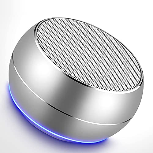Portable Bluetooth Speakers-Lenrue Mini Wireless Outdoor Rechargeable Speakers with LED,Built-in-Mic,Handsfree Call,AUX Line,TF Card,HD Stereo Sound and Bass for iPhone Ipad Android Phone Silver