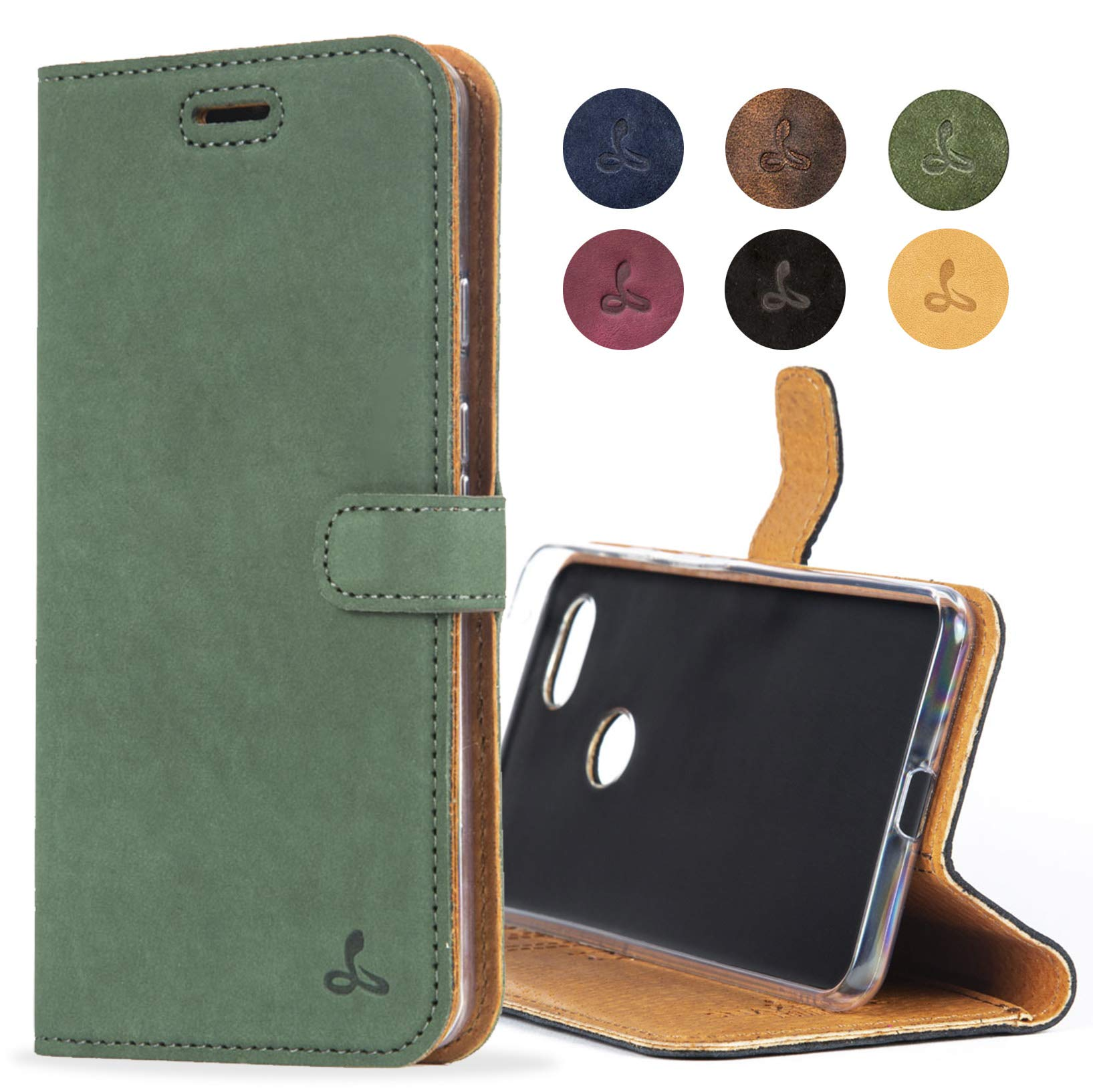 SnakeHive Google Pixel 3 Case, Luxury Genuine Leather Wallet with Viewing Stand and Card Slots, Flip Cover Gift Boxed and Handmade in Europe for Google Pixel 3 - (Dark Green)
