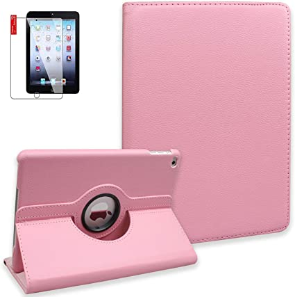 Multi Function PU Leather iPad Mini Case 360 Degree Rotating Stand with Magnetic Auto Sleep//Wake Function for Full Protector Bonus:Stylus Pen and Screen Protector for Apple iPad Mini iPad Mini 2 and New iPad Mini 3 Color Purple