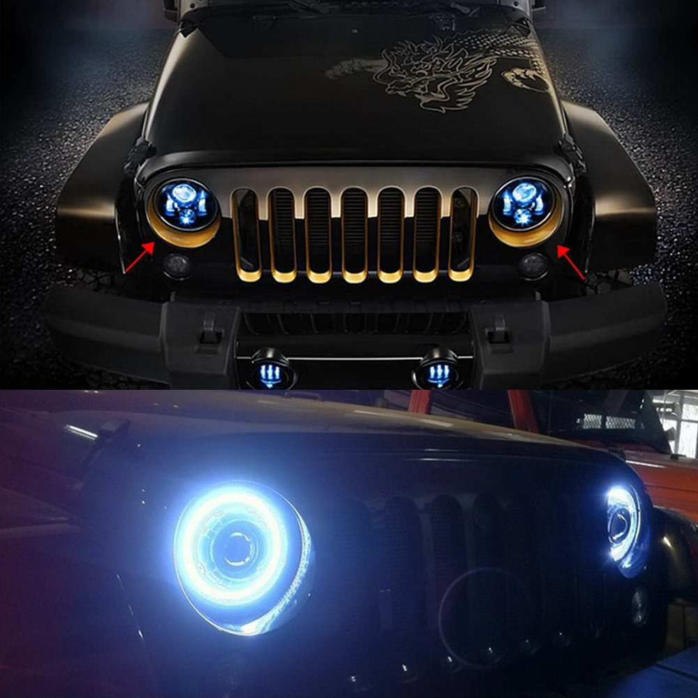 One Pair 7inch Car Round Led Headlights For Hummer Jeep Wiring Harness Clips 1978 Cj Wrangler Tj Jk With H4 H13 Adapter Electronics