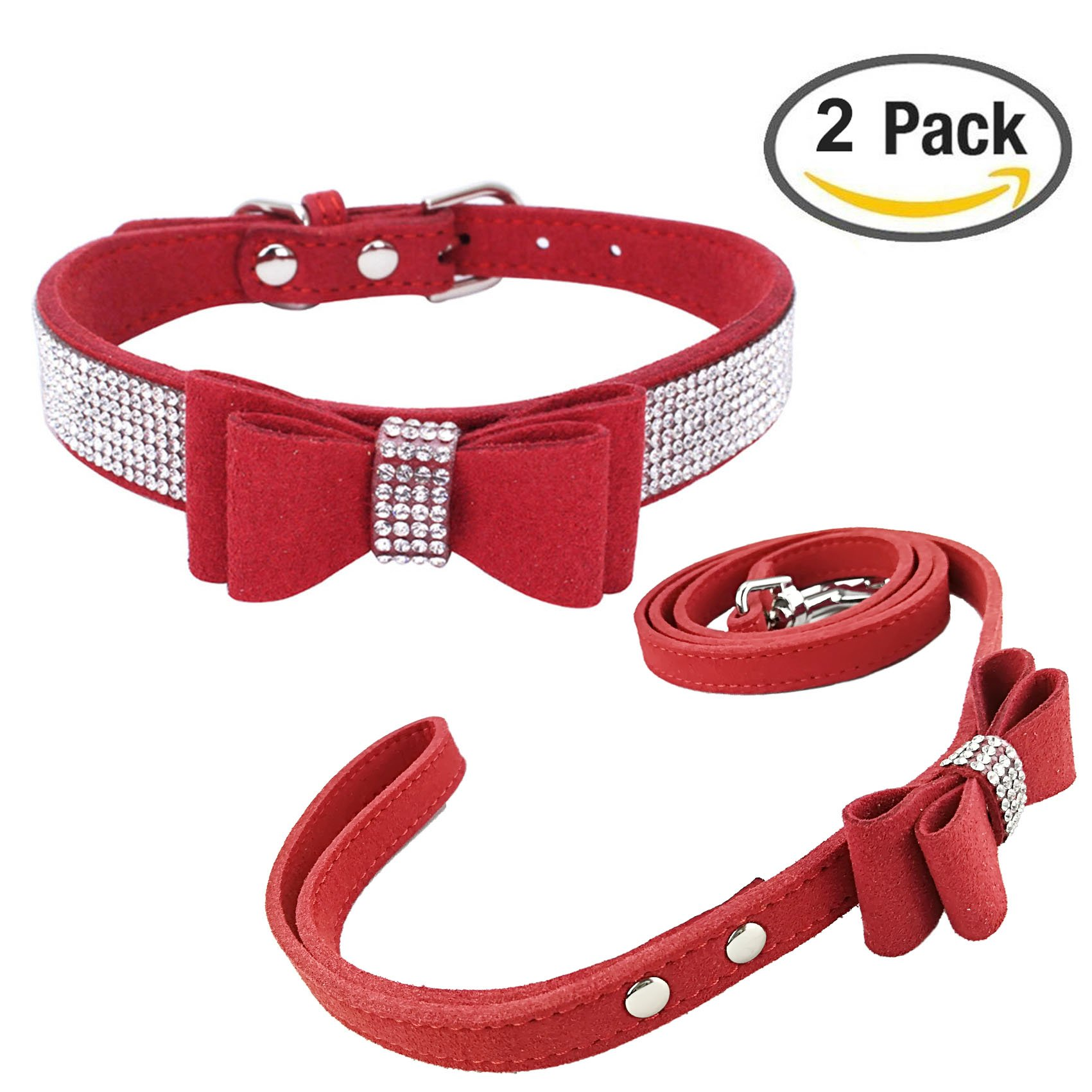 Newtensina Fashion Dog Collar and Lead with Bow Tie Bling Puppy Collar Leash with Bow for Dog - Red - S