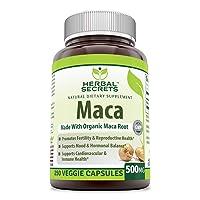 Herbal Secrets Maca 500 Mg 250 Veggie Capsules (Non-GMO) - Supports Reproductive...