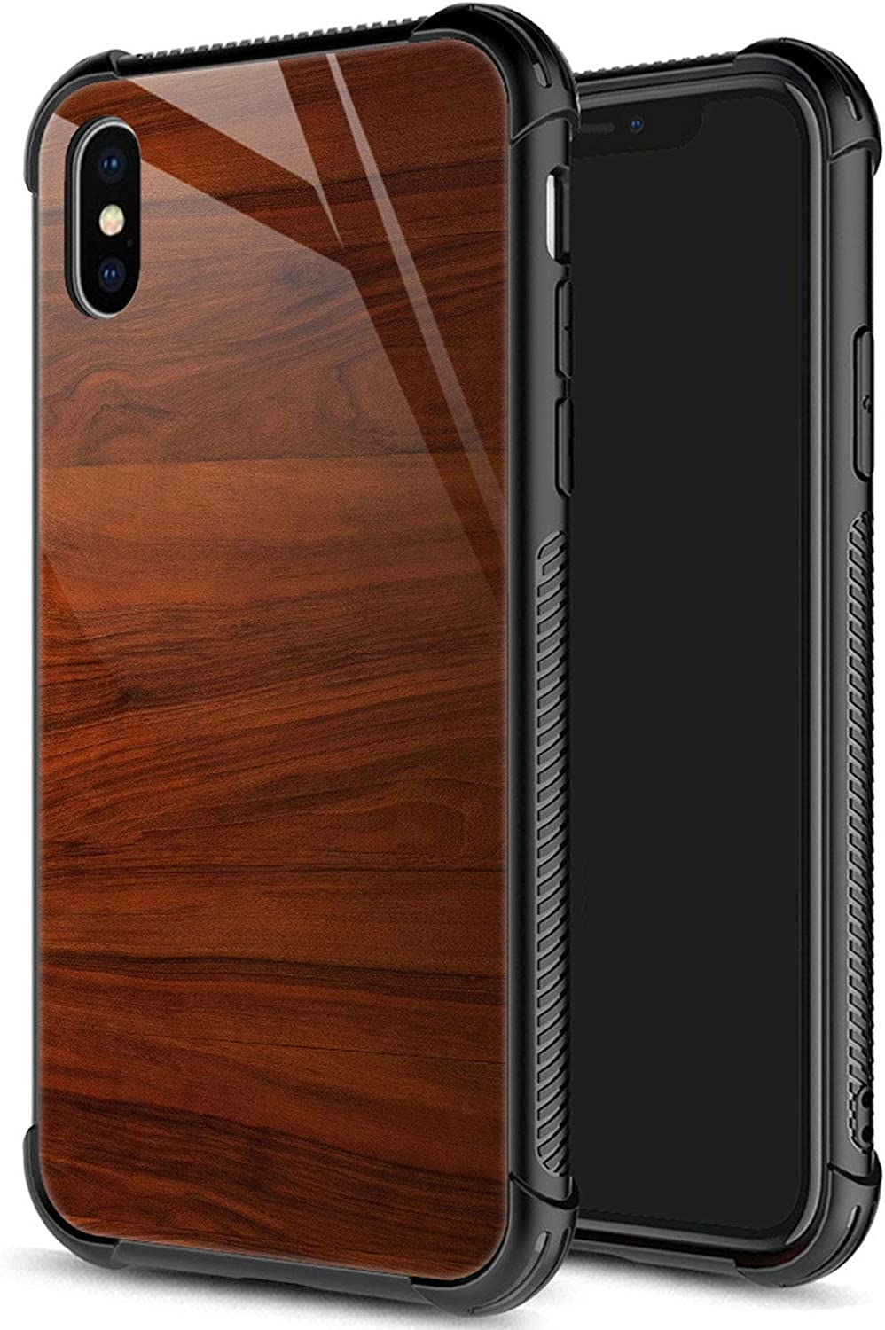 iPhone XR Case, Wood Grain iPhone XR Cases for Men Boys, Pattern Design Shockproof Anti-Scratch Organic Glass Case for Apple iPhone XR 6.1-inch Wood Grain