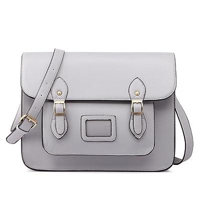 Women Ladies Girls Cambridge Style School Work Satchel Bag (Grey ... feaf507c2bd