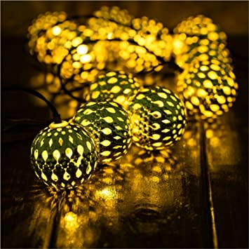 Solar String Light Outdoor Goodia 30 Led Gold Moroccan Waterproof Warm White String Lights For