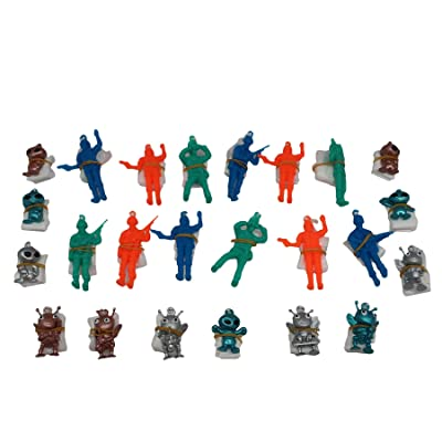 "Forest & Twelfth 1.5"" Alien Paratroopers & Soldier Paratroopers – Assortment of Airborne Action Figures with Parachutes – Parachute Men Perfect as Party Favors, Stocking Stuffers, & More – Set of 24: Toys & Games"
