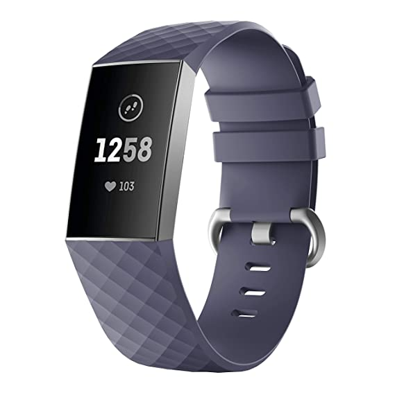 Yayuu Compatible Fitbit Charge 3 Bands,Soft Silicone Adjustable Sport Watch  Strap for Fitbit Charge 3 Replacement Fitness Smart Wristbands with Hole