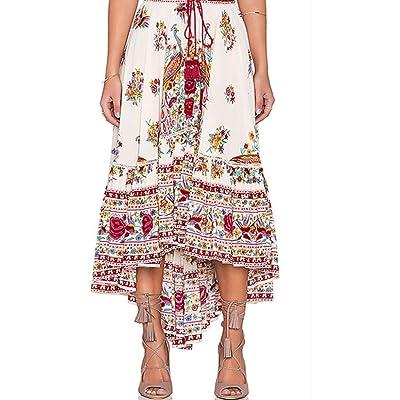 ADESHOP Femmes Boho Tribal Floral Jupe éTé Beach Longue Jupe Occasionnelle Dress Chic Femmes Mousseline Taille Haute IrréGulier Jupe Au Genou Femmes LâChe Mode DéContractéE Jupe De Pla