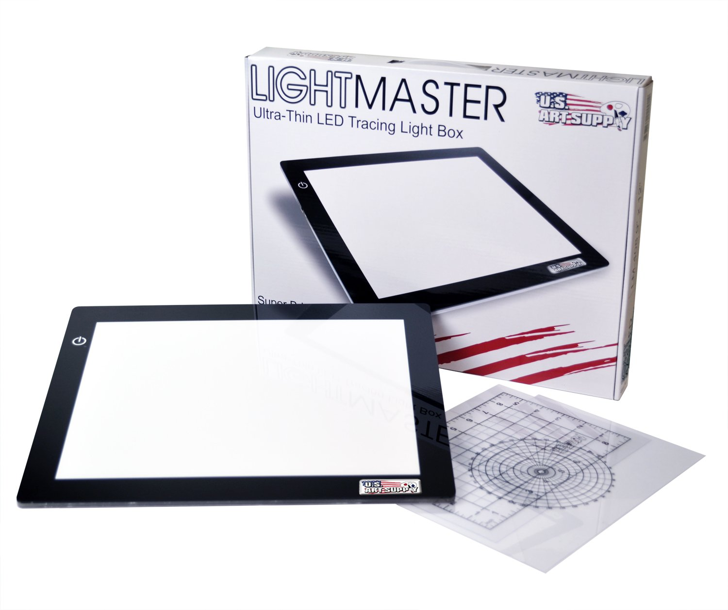 US ART SUPPLY Lightmaster USB Powered 18.75'' Diagonal Professional Artist Size (A4) 9''x12'' LED Lightbox Board - 5-Volt Light Bright Ultra-Thin 3/8'' Profile L.E.D. Light Box Pad with 110V AC Power Adapter, USB Adapter to Power From any USB Port, Computer o