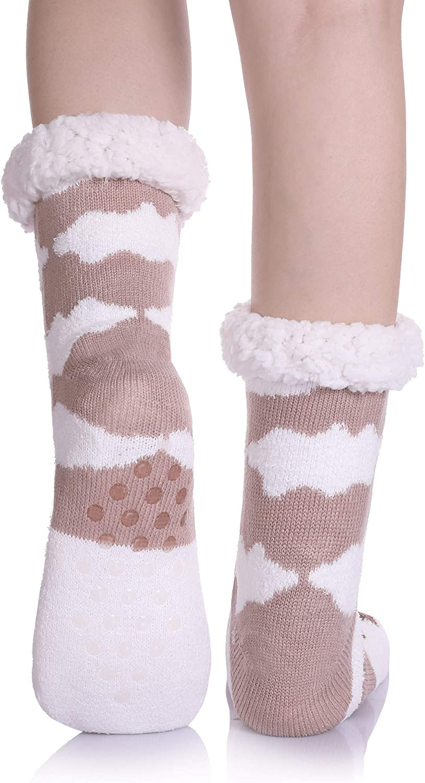 New Ladies Luxury Animal Sherpa Fleece Lined Gripper Sole Slipper Christmas Gift