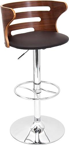LumiSource COSI Modern Barstool, Walnut Brown