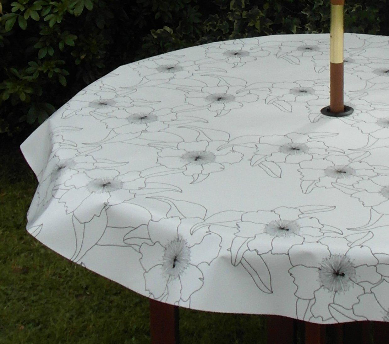 1397 x 1981 cm 14 x 20 m nappe ovale en pvcvinyle pochoir fleur noir sur blanc avec trou parasol amazonfr cuisine maison - Toile Ciree Pour Table De Jardin