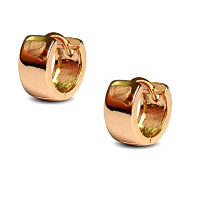 Blue Diamond Club Pair Mens Huggie Hoop Earrings 18ct Gold Filled