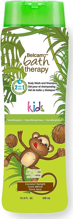 Belcam Bath Therapy Kid's Body Wash & Shampoo, Coconut Delight, 16.8 oz