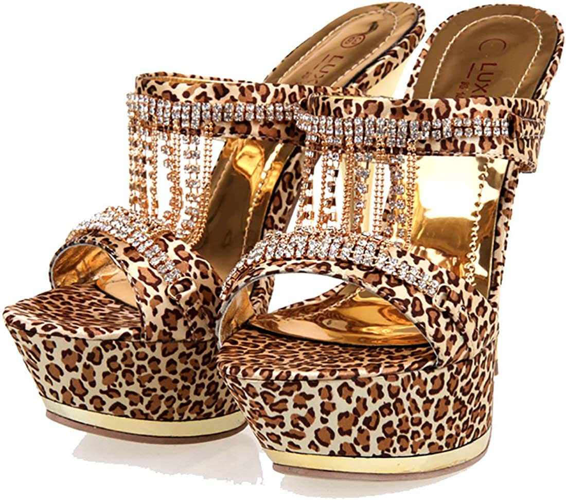Womens Strappy High Heels Leopard Print Pointed Toes Evening Party Stilettos Sz
