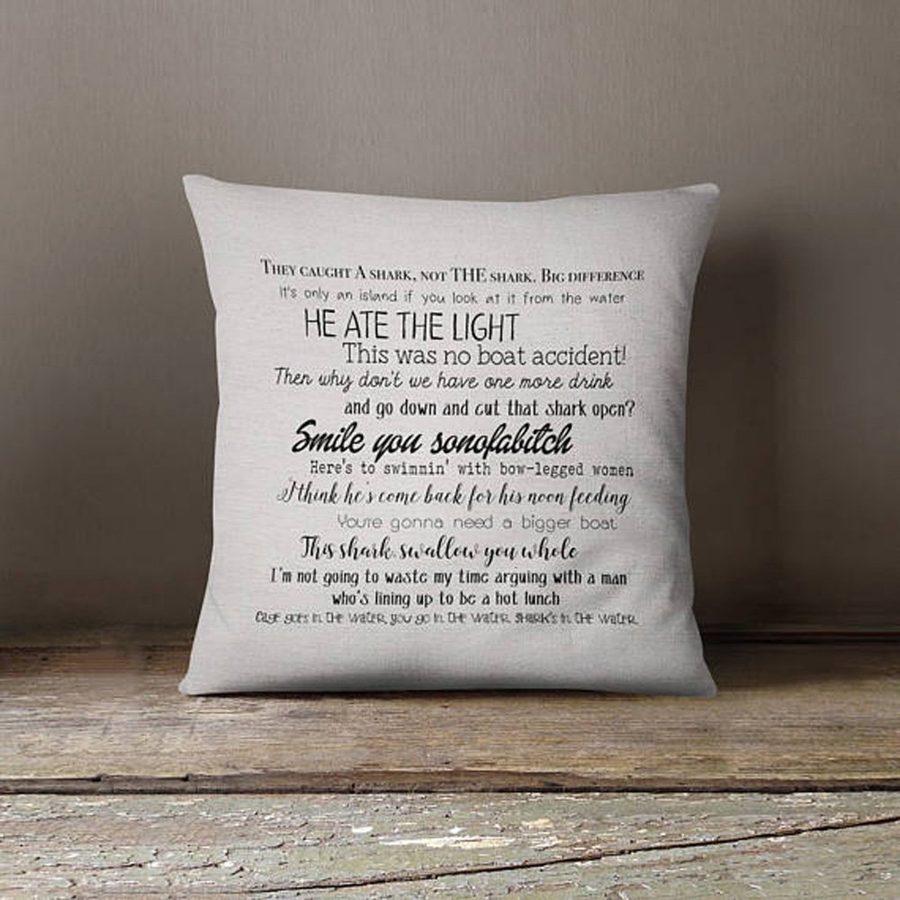 High quality Jaws movie quote pillow cover 16x16inch - movie quotes - movies - washable pillow cover - fiber arts - home textiles - eco inks