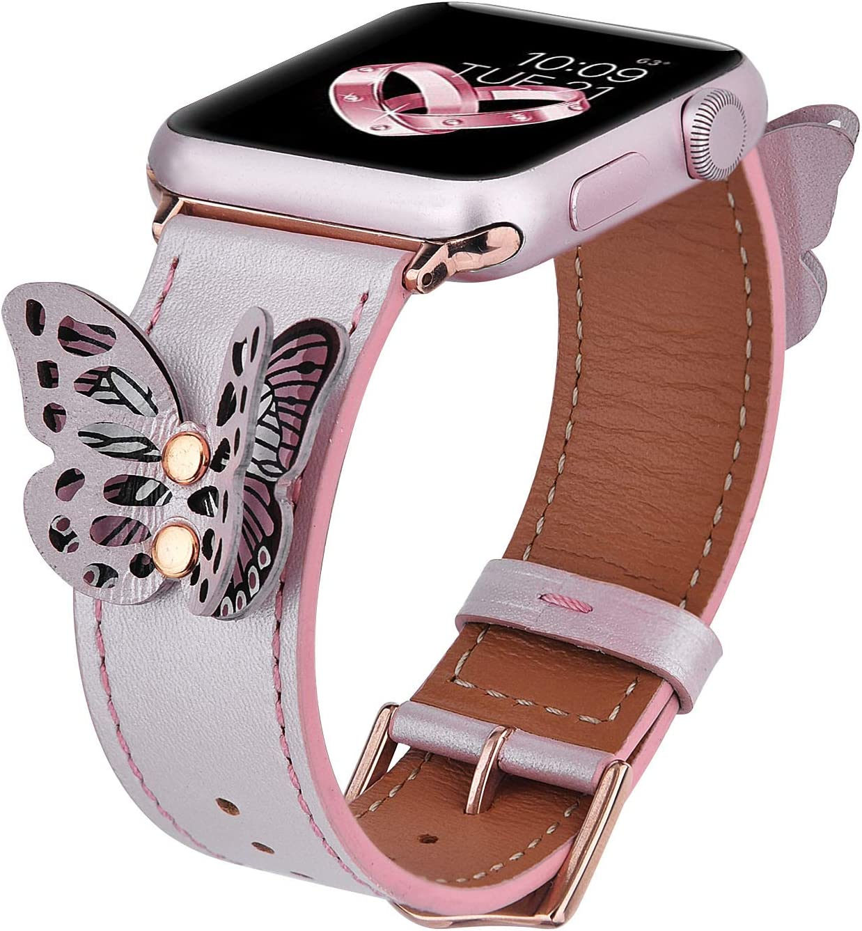 V-MORO Leather Band Compatible with Apple Watch Bands 42mm/44mm Women Fashion Butterfly iWatch Series 4/3/2/1 Strap with Rose Gold Stainless Steel Buckle Girls (Rose Gold,42/44)
