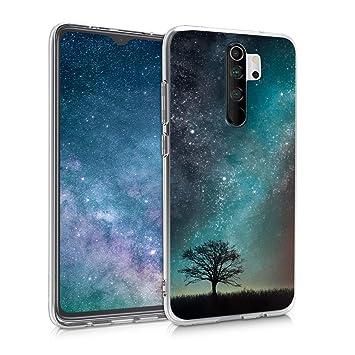 kwmobile Funda para Xiaomi Redmi Note 8 Pro - Carcasa de TPU para móvil y diseño de árbol y Estrellas en Azul/Gris/Negro