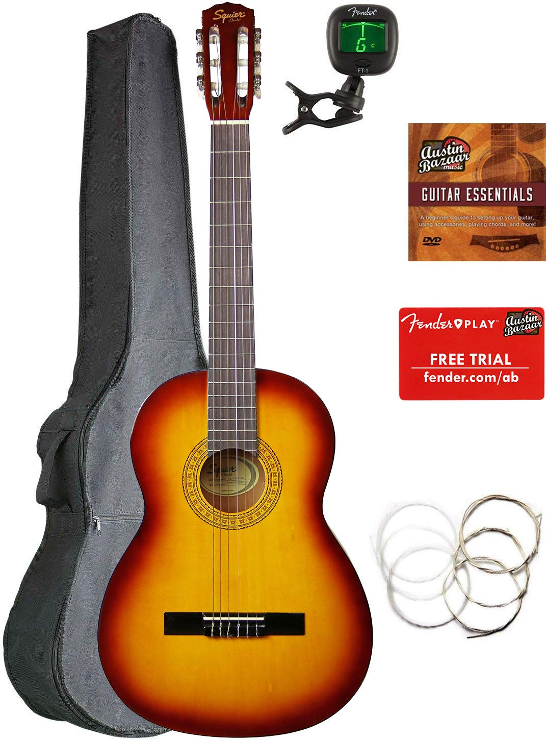 Fender Squier Classical Acoustic Guitar - Sunburst Bundle with Gig Bag, Tuner, Strings, Fender Play Online Lessons, and Austin Bazaar Instructional DVD by Fender